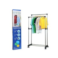 Double Pole Clothes Hanger Rack with Wheels – Stainless Steel