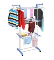 3 Layer Indoor Outdoor Folding Clothes Layer Laundry Dryer Hanger Rack Blue
