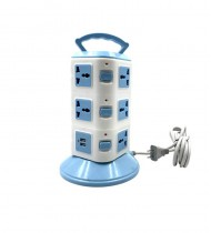 12 port Multifunctional vertical socket with 2 usb