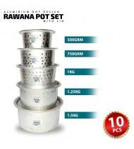 10pcs Aluminium Dot Design Rawana Pot Set with Lid