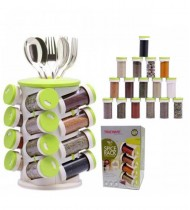 16PCS Spice Jar Seasoning Bottle Stand Rotating Holder